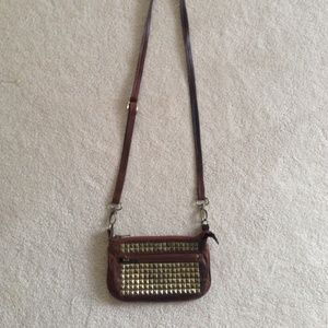"Studded Leather Crossbody Mini Purse (8""x5"")"